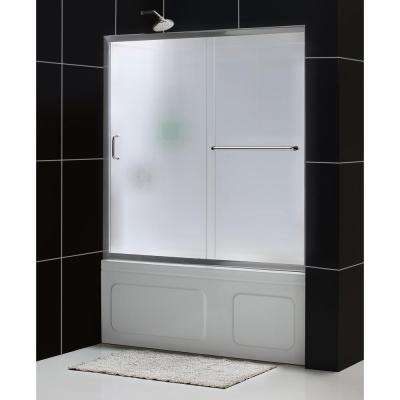 Infinity-Z 60 in. x 60 in. Framed Sliding Tub/Shower Door in Brushed Nickel and Backwall with Glass Shelves