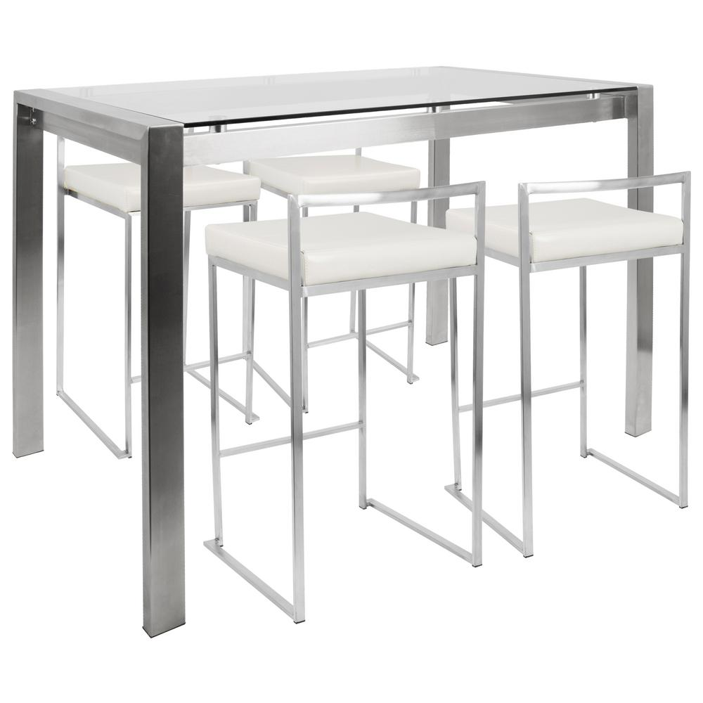 Lumisource Fuji 5 Piece White And Brushed Stainless Steel Counter Height Dining Set