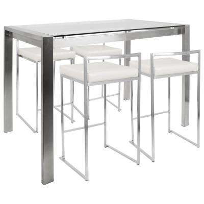Fuji 5-Piece White and Brushed Stainless Steel Counter Height Dining Set