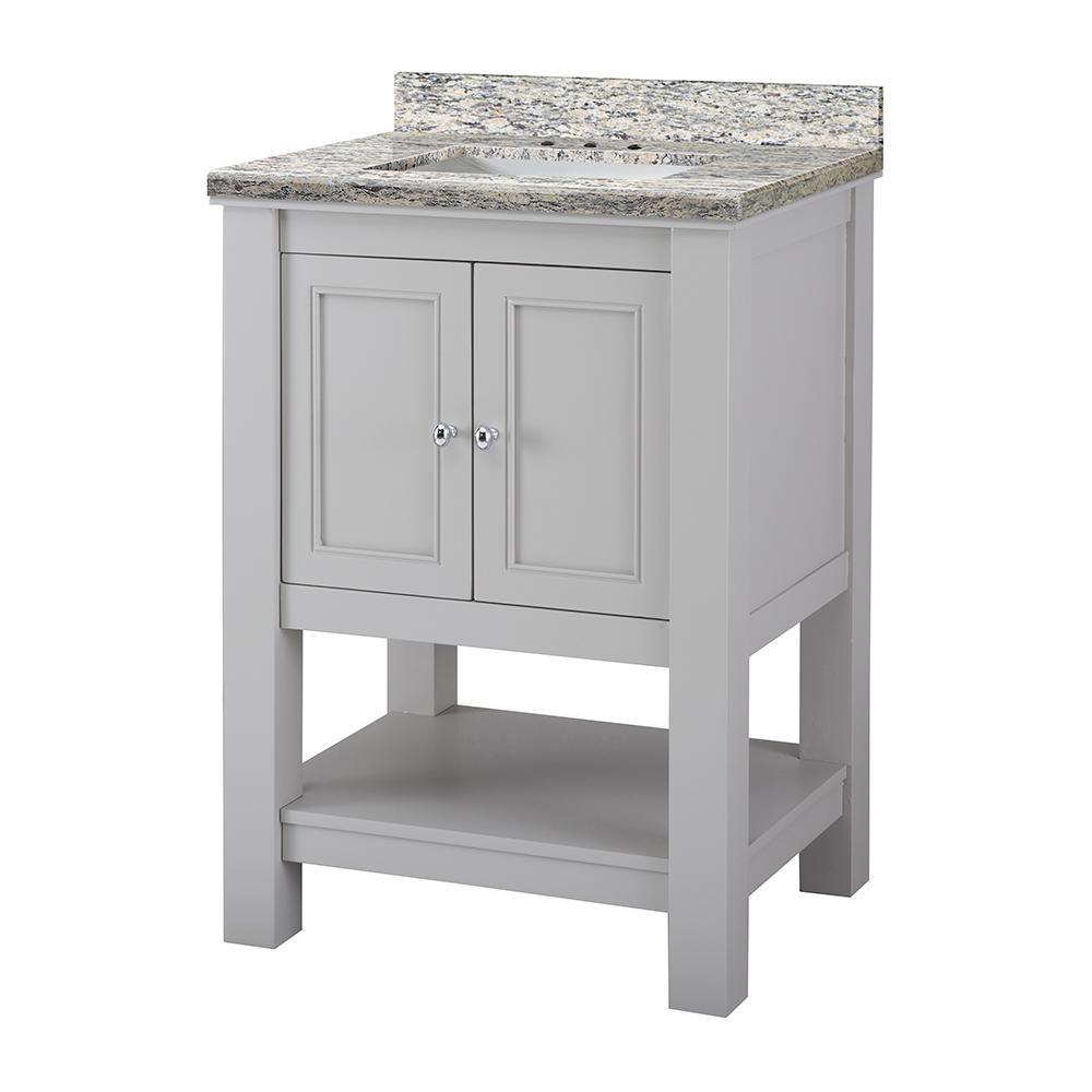 Gazette 25 in. W x 22 in. D Vanity in Grey with Granite Vanity Top in Santa Cecilia with White Sink