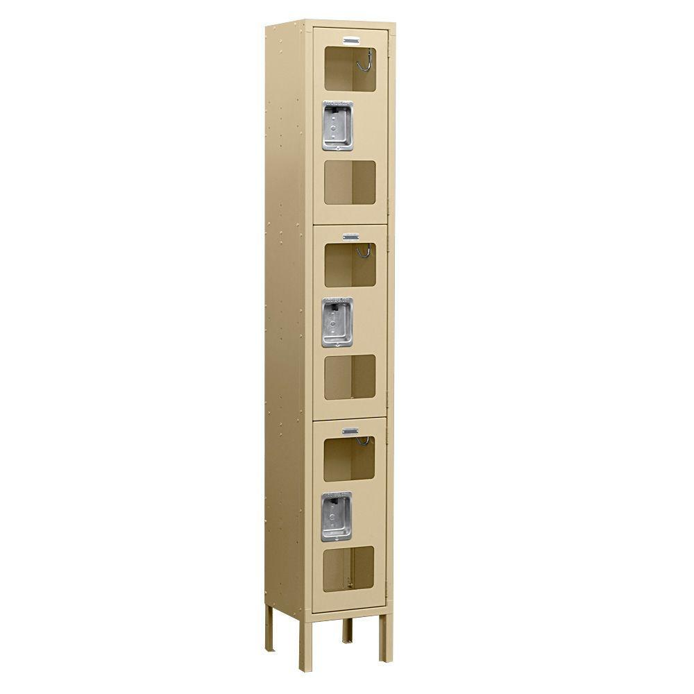 Salsbury Industries S-63000 Series 12 in. W x 78 in. H x 15 in. D 3-Tier See-Through Metal Locker Unassembled in Tan