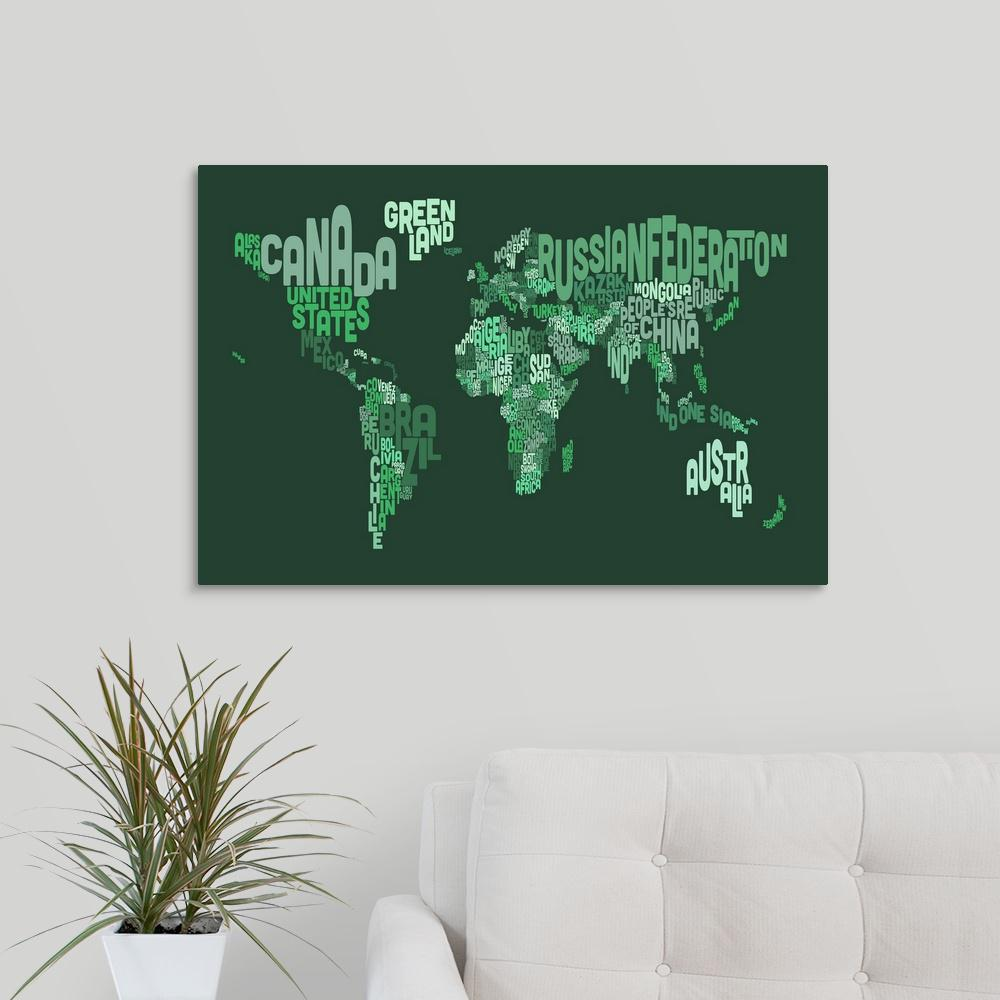 Greatbigcanvas country names world map green by michael tompsett greatbigcanvas country names world map green by michael tompsett canvas gumiabroncs Gallery