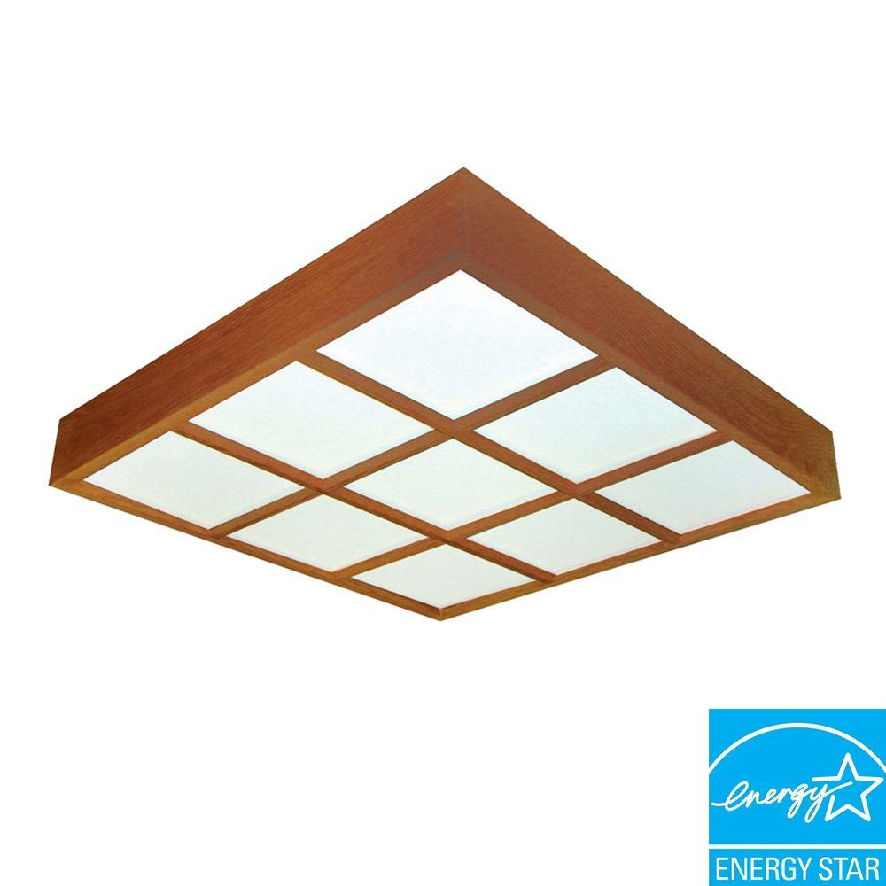 Aspects Decorative 4-Light Ceiling Oak Frame Surface Mount with Lattice-DISCONTINUED