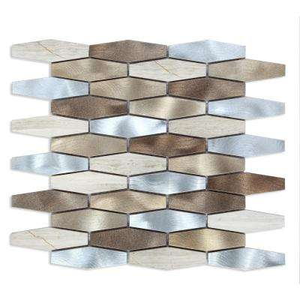 CHENX 11.81 in. x 13.98 in. x 8 mm Aluminum Metal Glass Backsplash in Silver/Brown/Tan (12.61 sq. ft. / case)