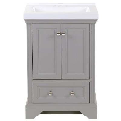 Stratfield 25 in. W x 22 in. D Bath Vanity in Sterling Gray with Cultured Marble Vanity Top in White with White Sink