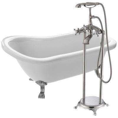 Pegasus 66.93 in. Acrylic Clawfoot Non-Whirlpool Bathtub in White with Tugela Faucet in Brushed Nickel