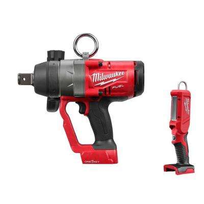 M18 ONE-KEY FUEL 18-Volt Lithium-Ion Brushless Cordless 1 in. Impact Wrench with Friction Ring with M18 LED Stick Light