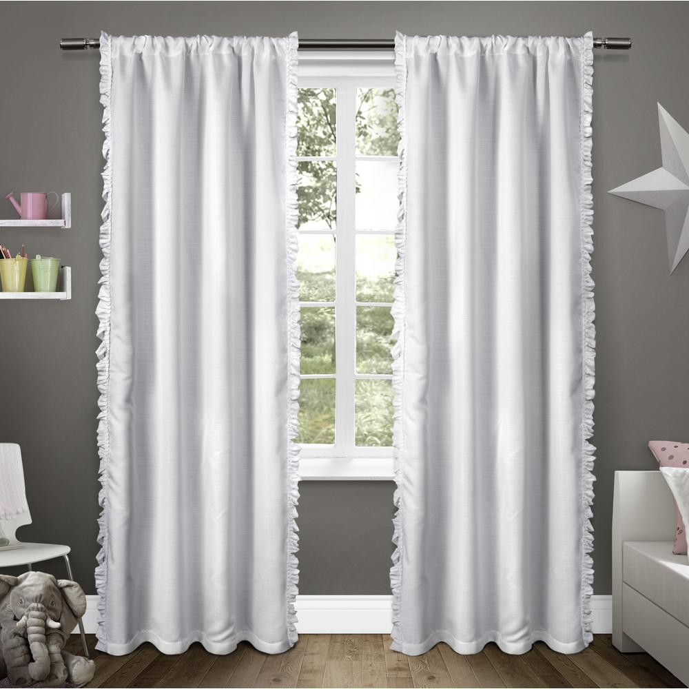 Ruffles Winter White Rod Pocket Top Window Curtain-EK5306