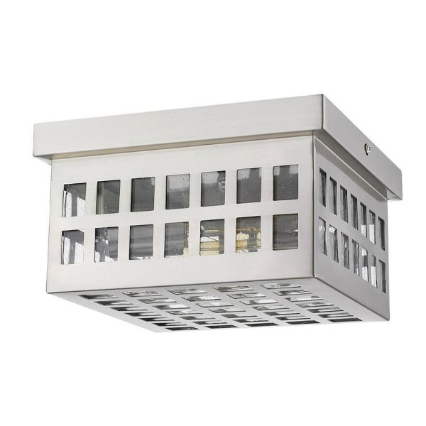 Letzel 2-Light Satin Nickel Outdoor Flush Mount