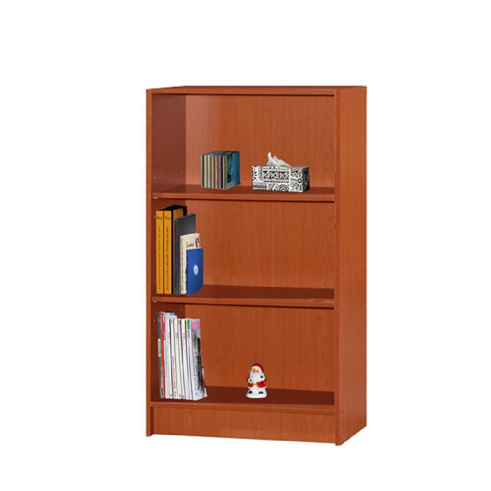 3-Shelf, 35 in. H Cherry Bookcase