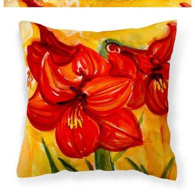 14 in. x 14 in. Multi-Color Lumbar Outdoor Throw Pillow Flower Amaryllis Decorative Canvas Fabric Pillow