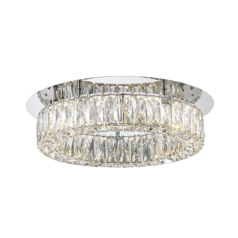 Monteaux Lighting Crystal And Polished Chrome Integrated Led Semi Flush Mount