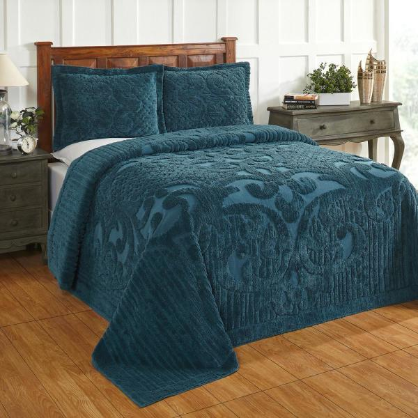 Ashton Collection in Medallion Design Teal Full/Double 100% Cotton Tufted Chenille Bedspread