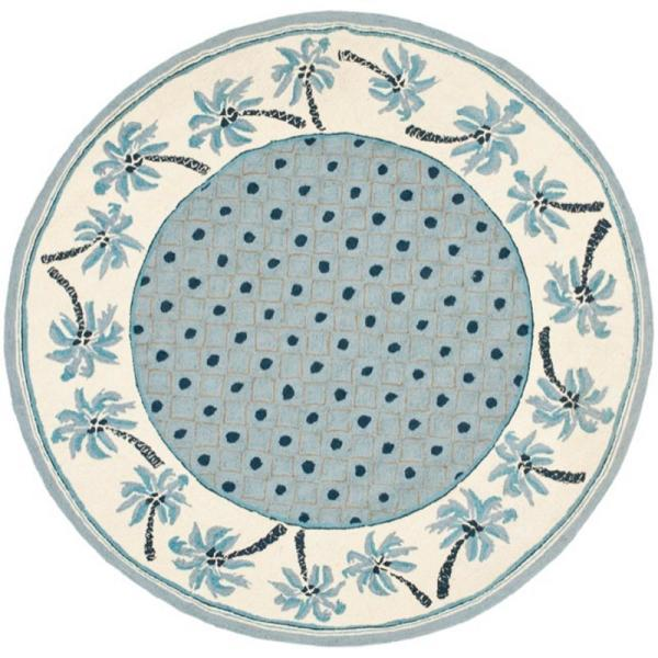 Safavieh Chelsea Blue Ivory 3 Ft X 3 Ft Round Area Rug Hk724a 3r The Home Depot