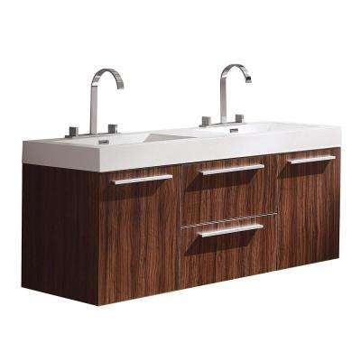 Opulento 54 in. Double Vanity in Walnut with Acrylic Vanity Top in White with White Basins