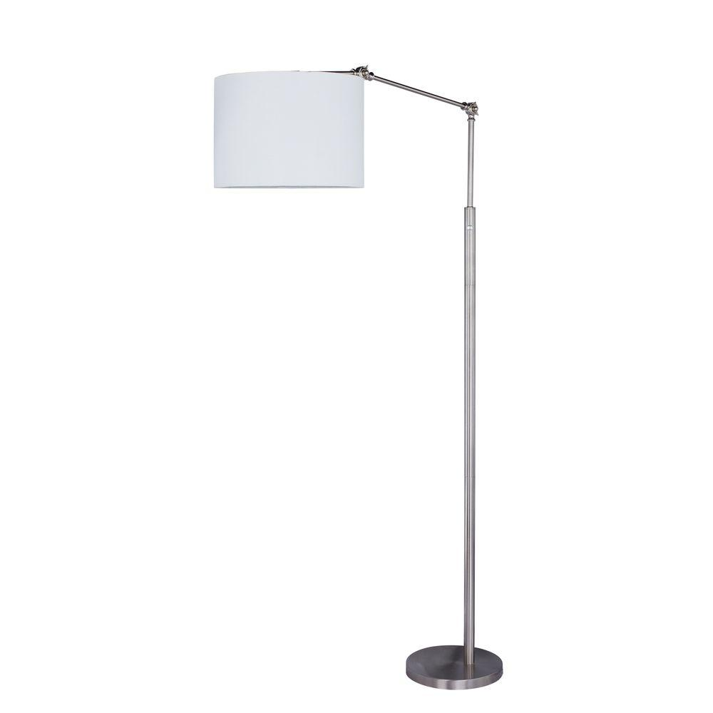 74 in. Metal Floor Lamp in Satin Nickel