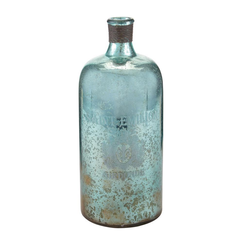 Titan 13 in. Glass Decorative Bottle in Antique Mercury A...