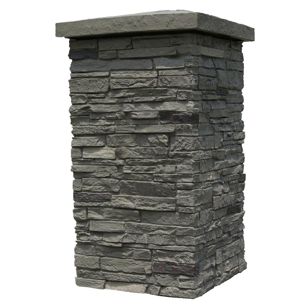 NextStone Slatestone Pewter 30 in. x 16 in. Faux Polyurethane Stone Column Wrap (4-Piece)