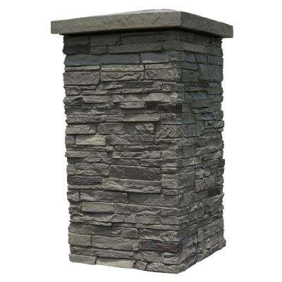 Slatestone Pewter 30 in. x 16 in. Faux Polyurethane Stone Column Wrap (4-Piece)