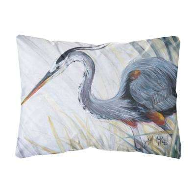 12 in. x 16 in. Multi Color Lumbar Outdoor Throw Pillow Blue Heron Frog Hunting