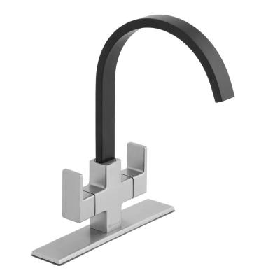 Farrington Contemporary 2-Handle High-Arc Standard Kitchen Faucet in Dual Stainless Steel and Matte Black