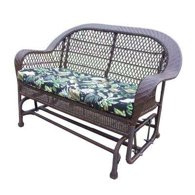 Coventry Coffee Wicker Outdoor Glider with Black Floral Cushion
