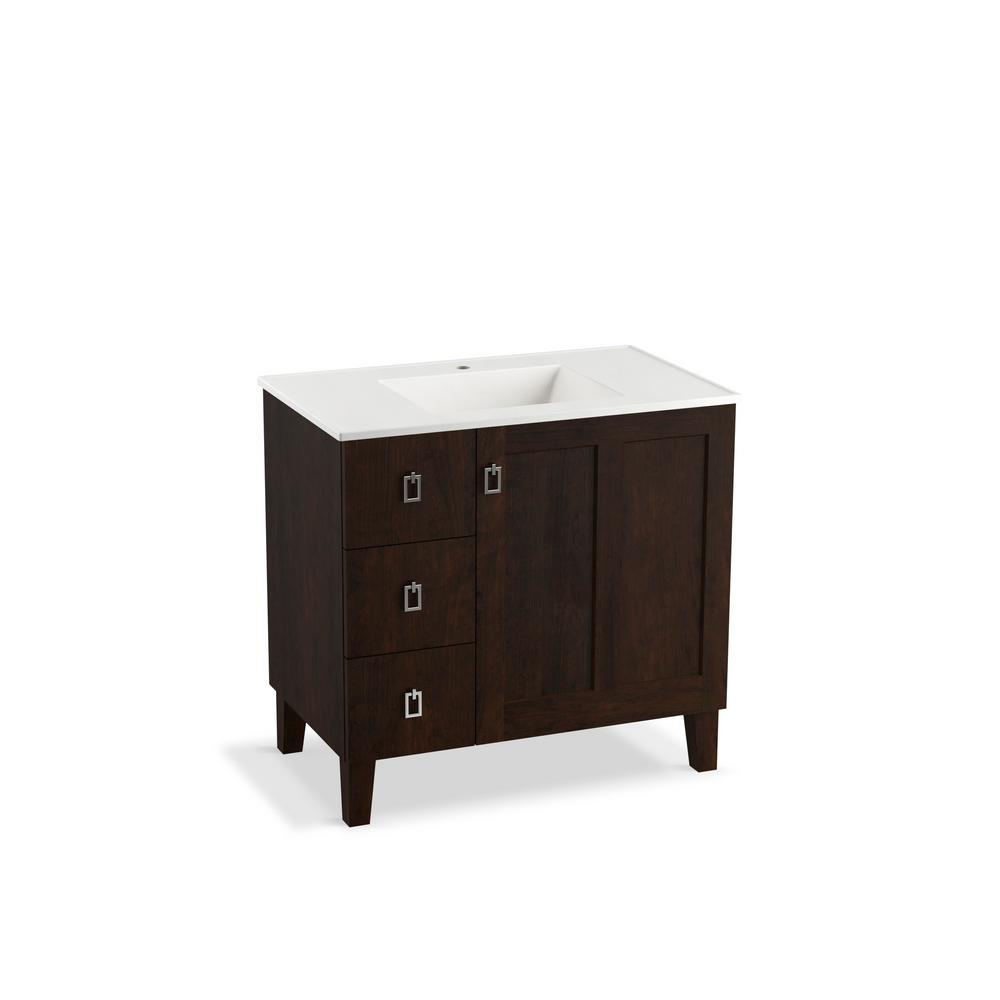KOHLER Poplin 36 in. Vanity in Claret Suede with Vitreous China Vanity Top in White