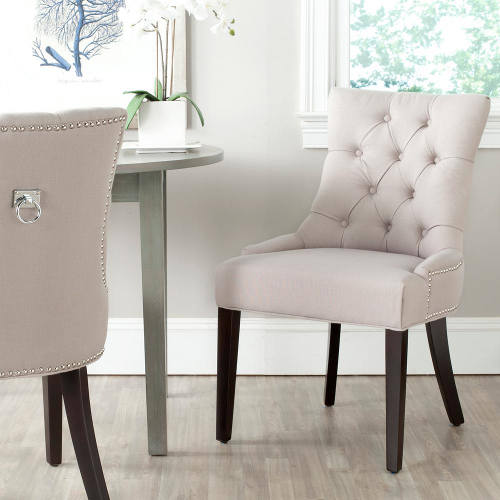 Strange Safavieh Harlow Taupe Espresso Linen Side Chair Set Of 2 Unemploymentrelief Wooden Chair Designs For Living Room Unemploymentrelieforg