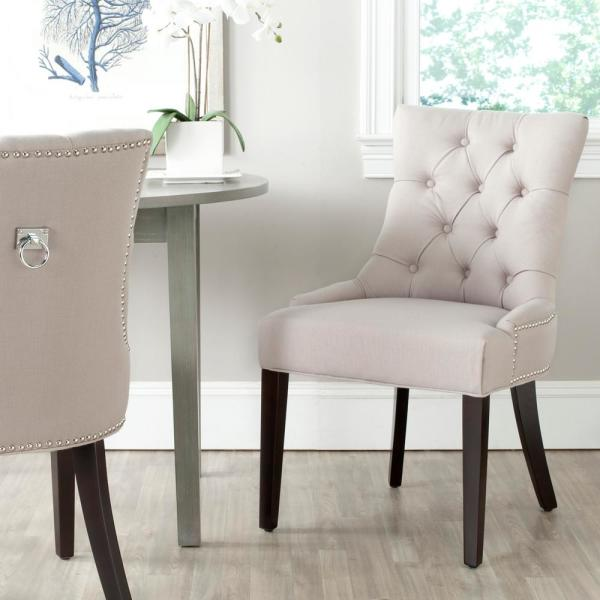 Safavieh Harlow Taupe/Espresso Linen Side Chair (Set of 2)