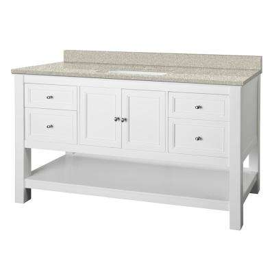 Gazette 61 in. W x 22 in. D Vanity in White with Engineered Marble Vanity Top in Sedona with White Sink