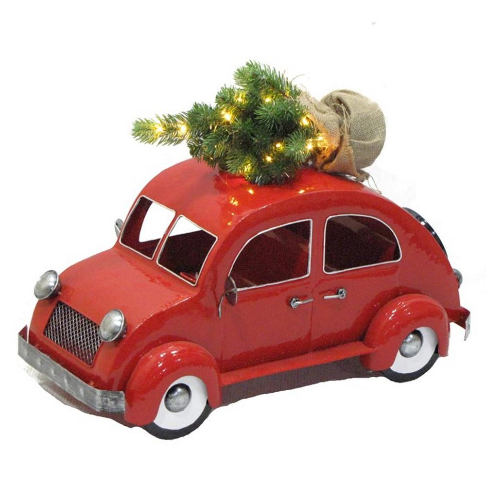 Christmas Car Decorations.Zaer Ltd International Inspired Vw Bug With Led Christmas Tree