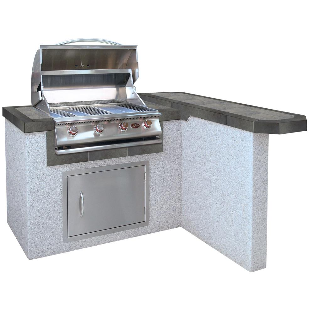 Cal Flame 4 ft. Stucco Grill Island with 4-Burner Propane Gas Grill in Stainless Steel