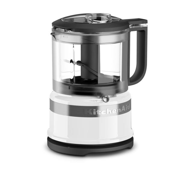 KitchenAid 5-Cup 2-Speed White Food Processor with Whisk Accessory KFC0516WH