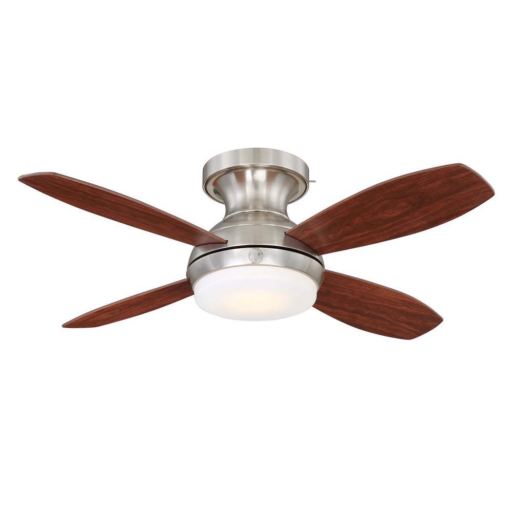 Ge Kinsey 44 In Led Indoor Brushed Nickel Ceiling Fan