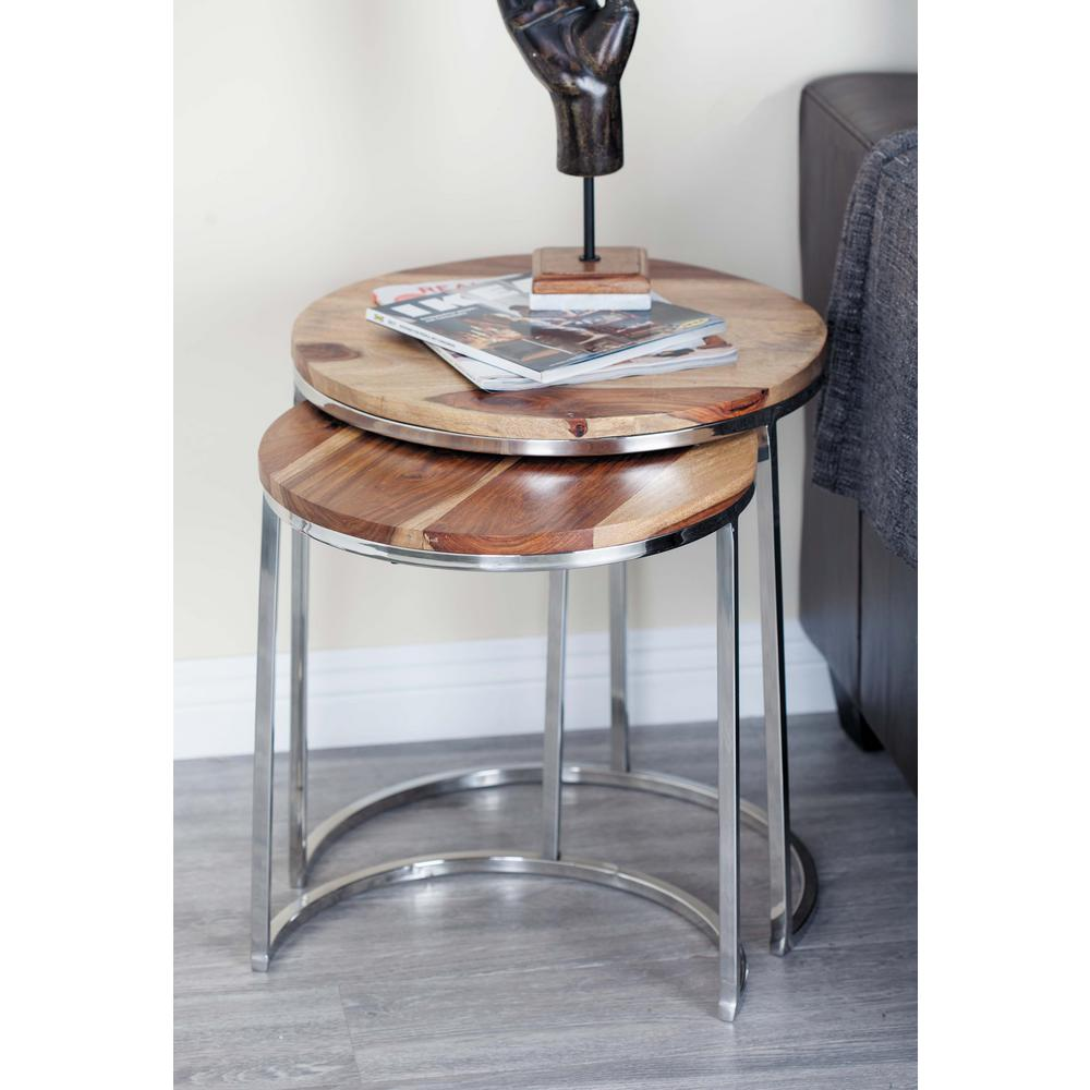 Wood And Stainless Steel Round Nesting Tables (Set Of 3)