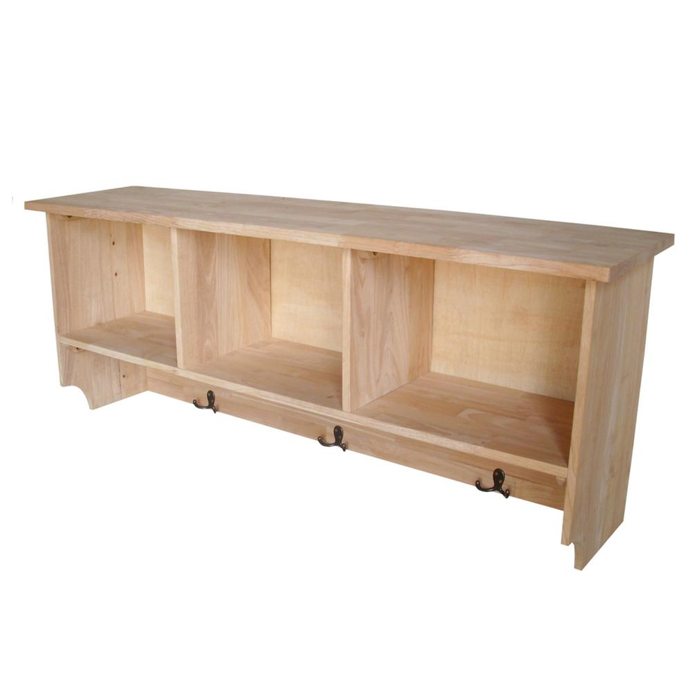 Wall Shelf with Storage in Unfinished Wood