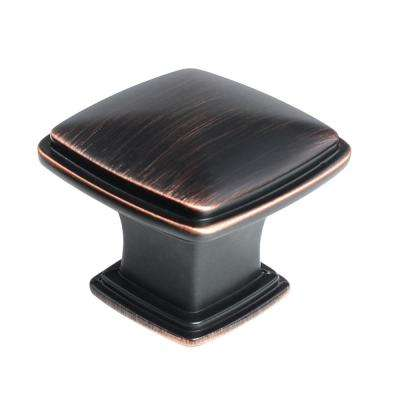1-1/4 in. Oil Rubbed Bronze Traditional Square Cabinet Knob (10-Pack)