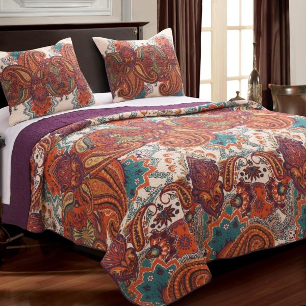 Greenland Home Fashions Nirvana Spice Quilt Set 3 Piece
