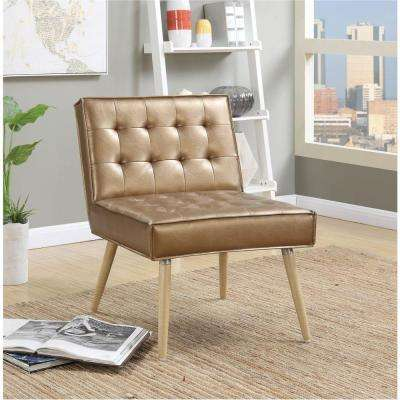 Amity Sizzle Copper Fabric Tufted Accent Chair