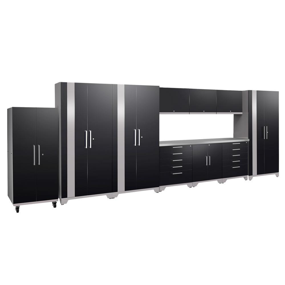 Performance Plus 2.0 80 in. H x 220 in. W x 24 in. D Steel Garage Cabinet Set in Black (11-Piece)