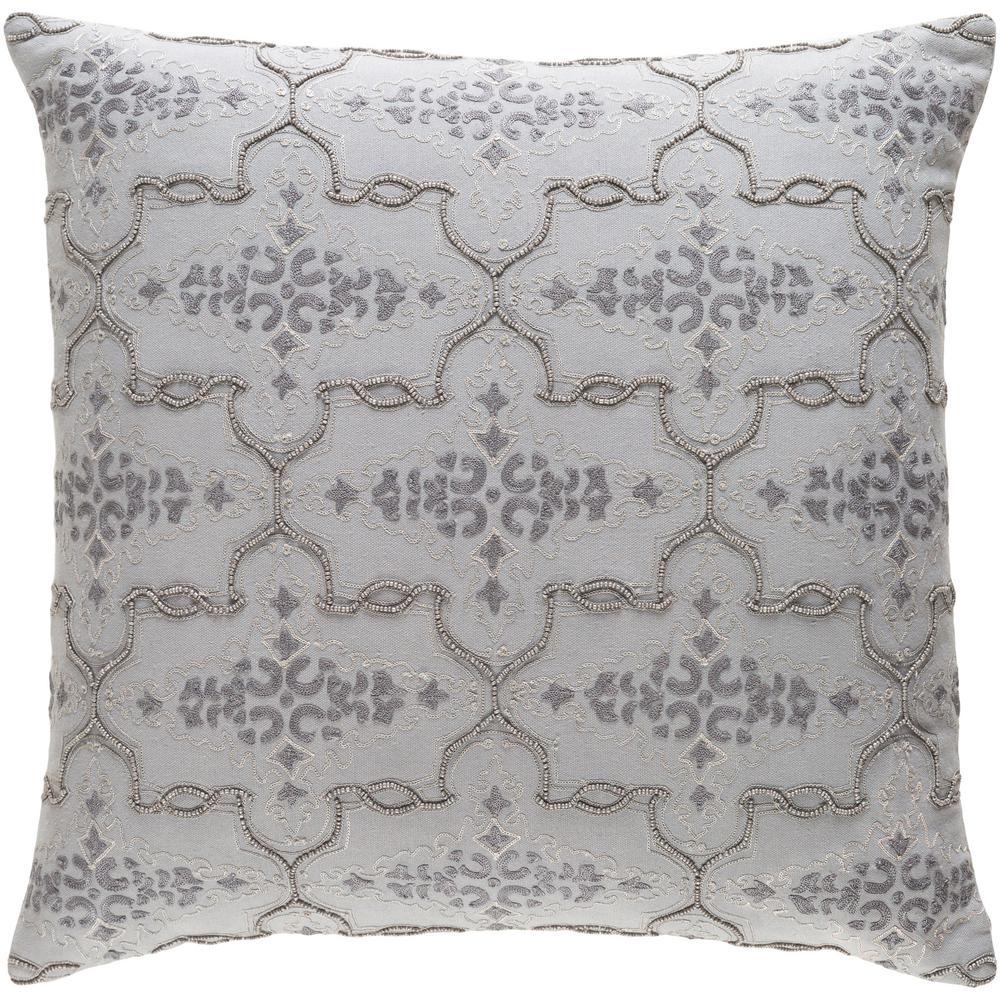 Goldsboro Medium Gray Graphic Polyester 18 in. x 18 in. Throw Pillow