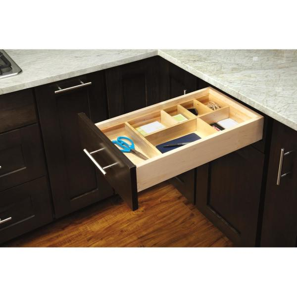Rev A Shelf 2 5 In H X 9 88 In W X 32 In D Small Adjustable Wood Drawer Organizer Kit Ld 4ct15 1 The Home Depot