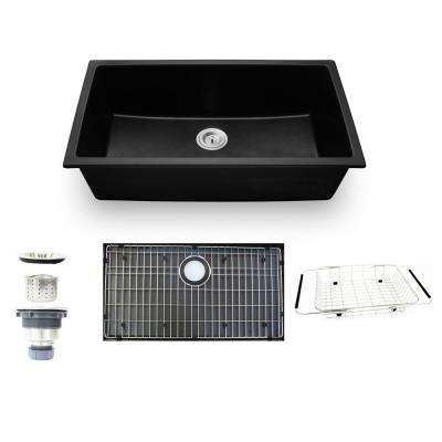Undermount Granite Composite 32 in. Single Bowl Kitchen Sink Kit in Black