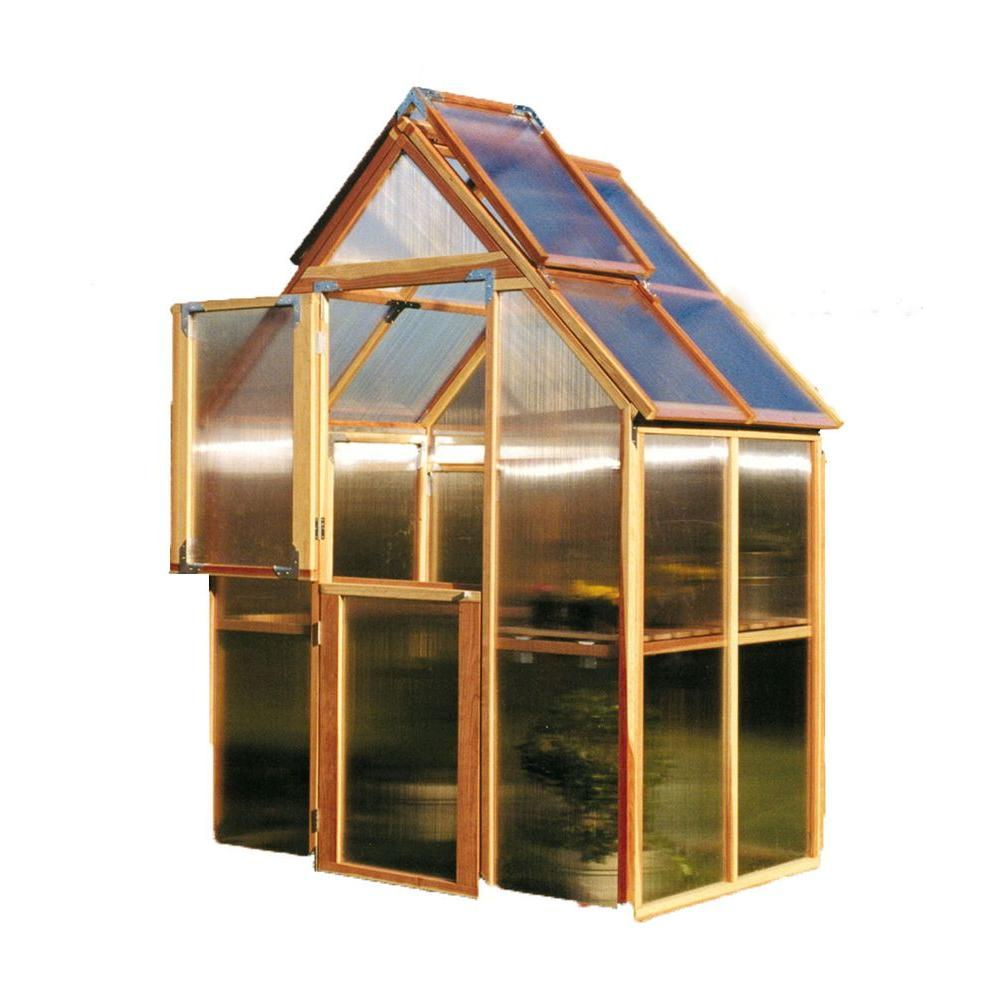 Sunshine Gardenhouse 72 in. W x 48 in. D x 100 in. H Redwood Frame ...