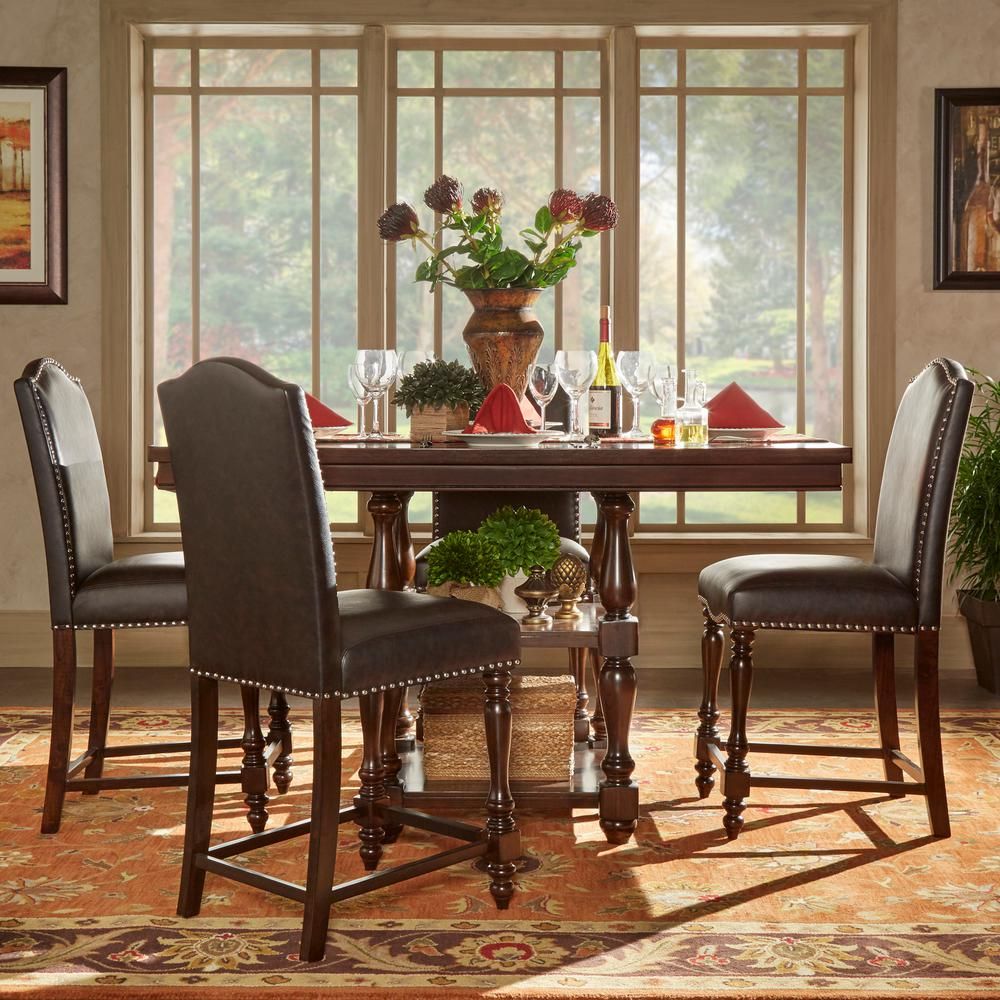 HomeSullivan Madison 5 Piece Brown Counter Height Dining Set