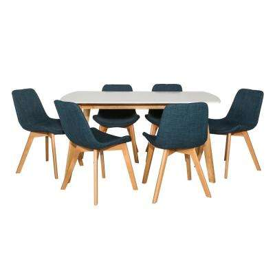 Retro Modern Transitional 7-Piece White and Natural/Blue Contemporary Dining Set