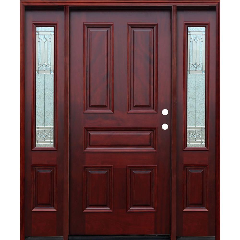 Pacific Entries 66in.x82in. Traditional 5-Panel Stained Mahogany Wood Prehung Front Door w/6 in. Wall Series and 12 in. Sidelites