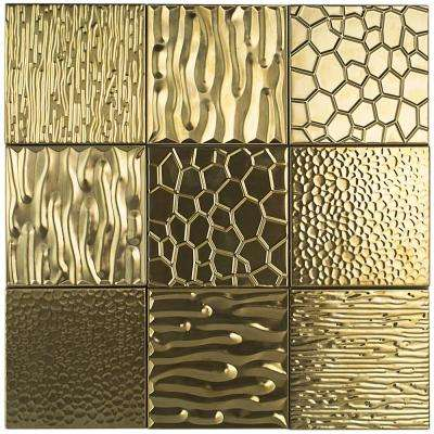 Evermore Gold 4 in. x 4 in. x 8 mm Stainless Steel Wall Tile (9 pieces/ 1 Sqft/ Case)