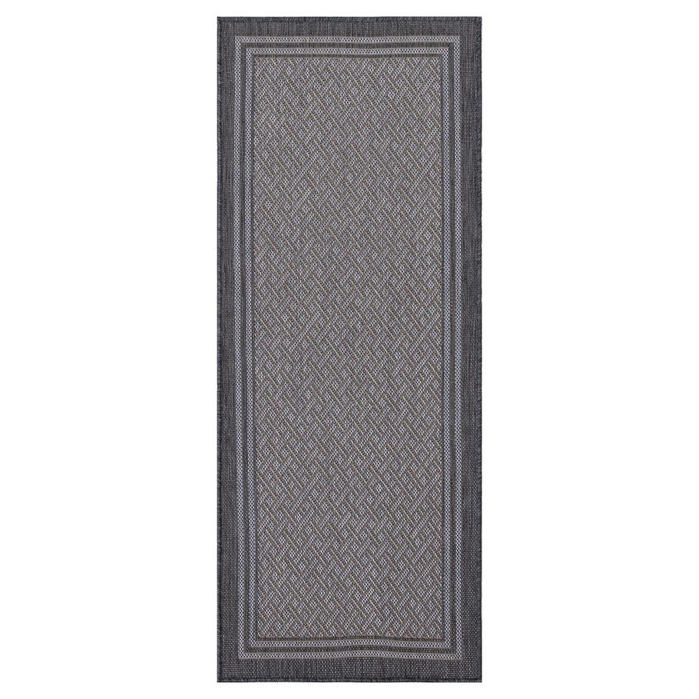 Jardin Collection Gray Striped Design Flat Weave 2 ft. x 5 ft. Jute Back Indoor/Outdoor Runner Rug