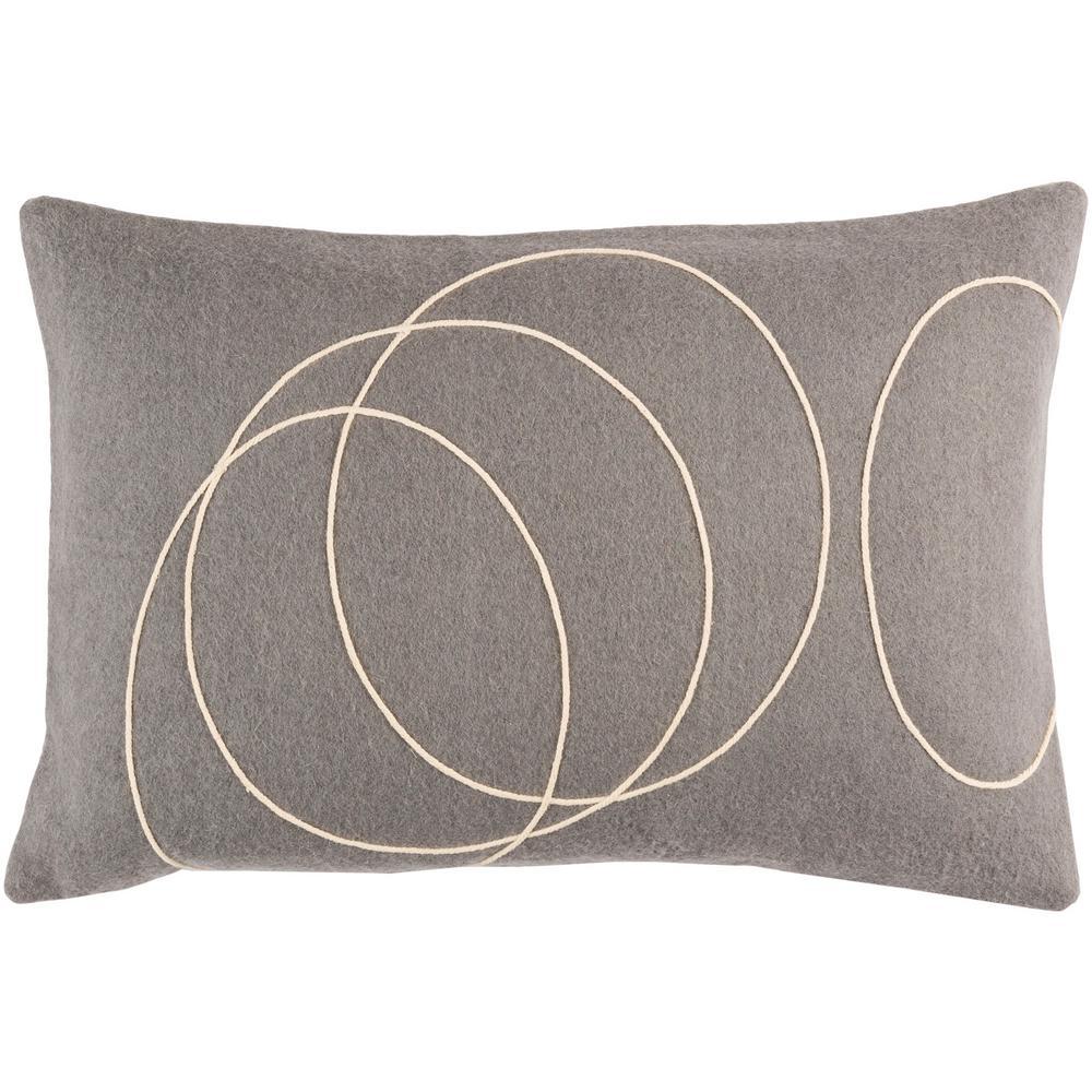 Bempton Medium Gray Geometric Polyester 19 in. x 19 in. Throw Pillow